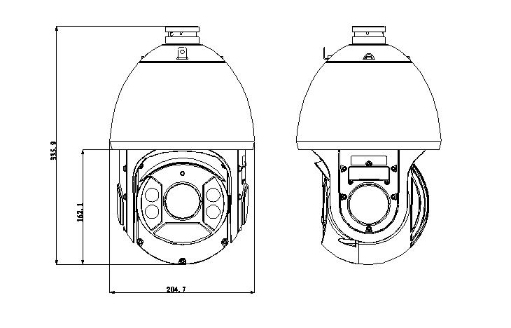 2MP 1080P 20X Waterproof HDCVI IR PTZ Camera Diagram