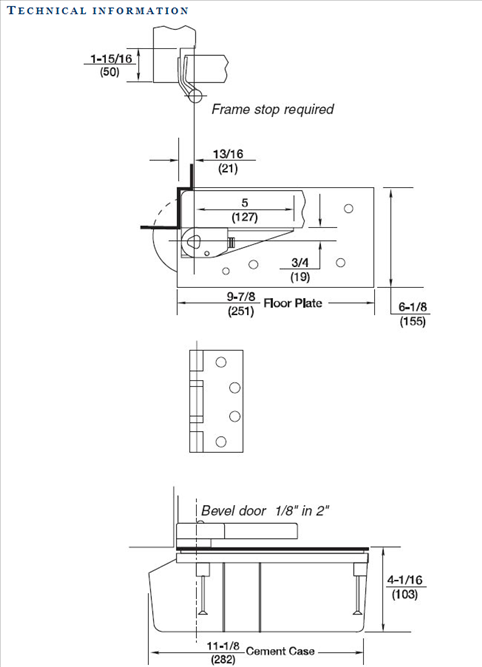 Rixson Model 427 3/4 Offset Technical Information