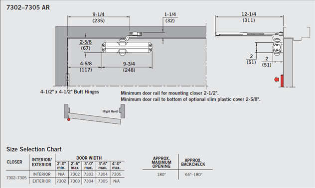 7300 Surface Door Closer Technical Drawing