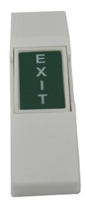 Plastic Exit Push Button - Green, White Letters