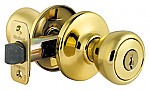 Kwikset Security Series Tylo Keyed Entry Door Knobset - Polished Brass