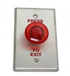 Exit Red Push Button Illuminator with Wide Face Plate
